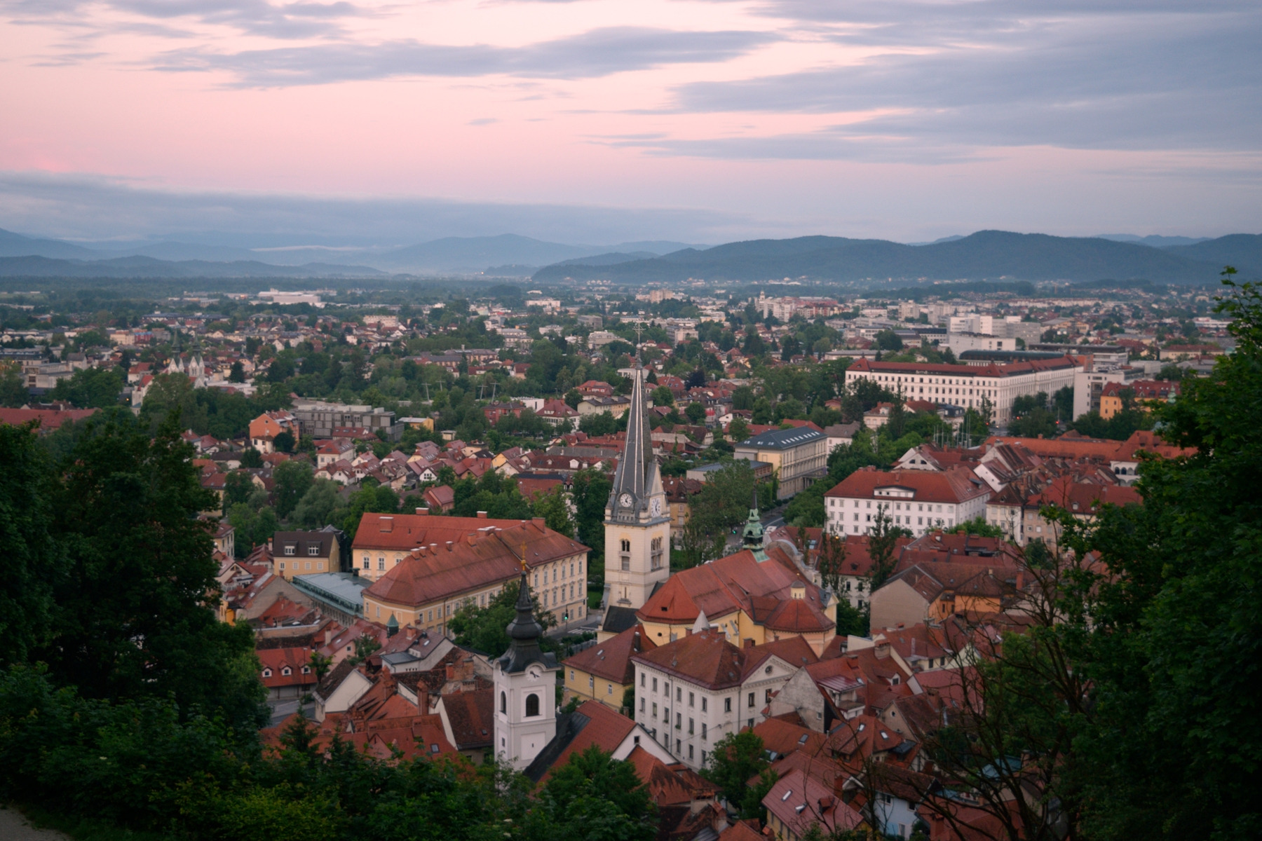 Waking up early to watch the sunrise in Ljubljana, Slovenia.