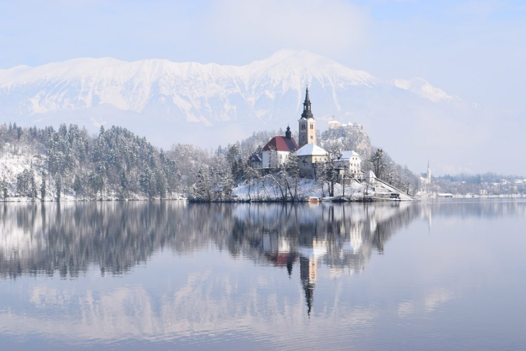 Lake Bled, Slovenia captured in February 2018 by The Cheerful Wanderer (http://thecheerfulwanderer.com)